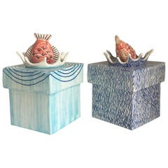 Pair of Italian Ceramic Cubic Boxes with Fish Top Cover, Italy, 21st C