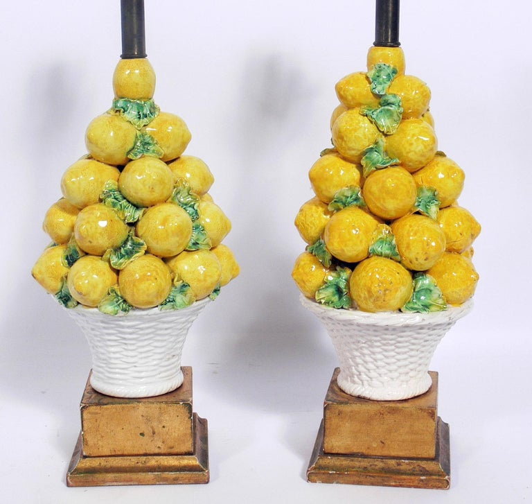 Pair of Italian ceramic lemon lamps, Italy, circa 1950s. They have been rewired and are ready to use. The price noted below includes the shades.
