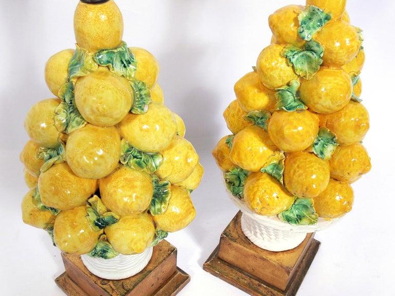 Hollywood Regency Pair of Italian Ceramic Lemon Lamps For Sale