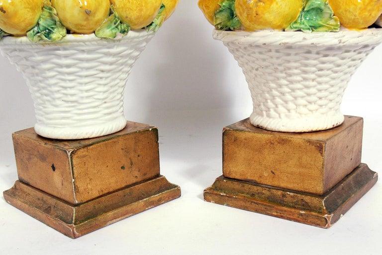 Mid-20th Century Pair of Italian Ceramic Lemon Lamps For Sale