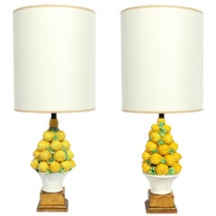 Pair of Italian Ceramic Lemon Lamps