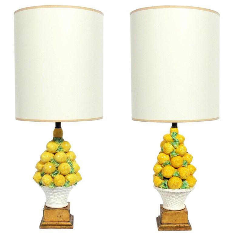 Pair of Italian Ceramic Lemon Lamps For Sale