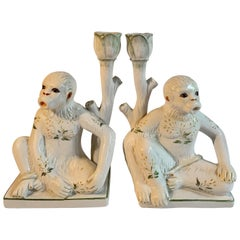 Pair of Italian Ceramic Monkey Candlesticks