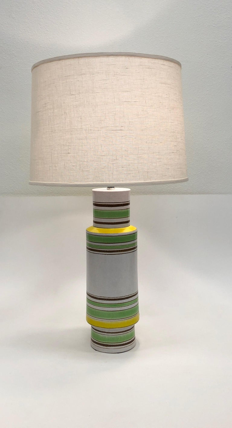 Pair of Italian Ceramic Table Lamps by Bitossi For Sale 4