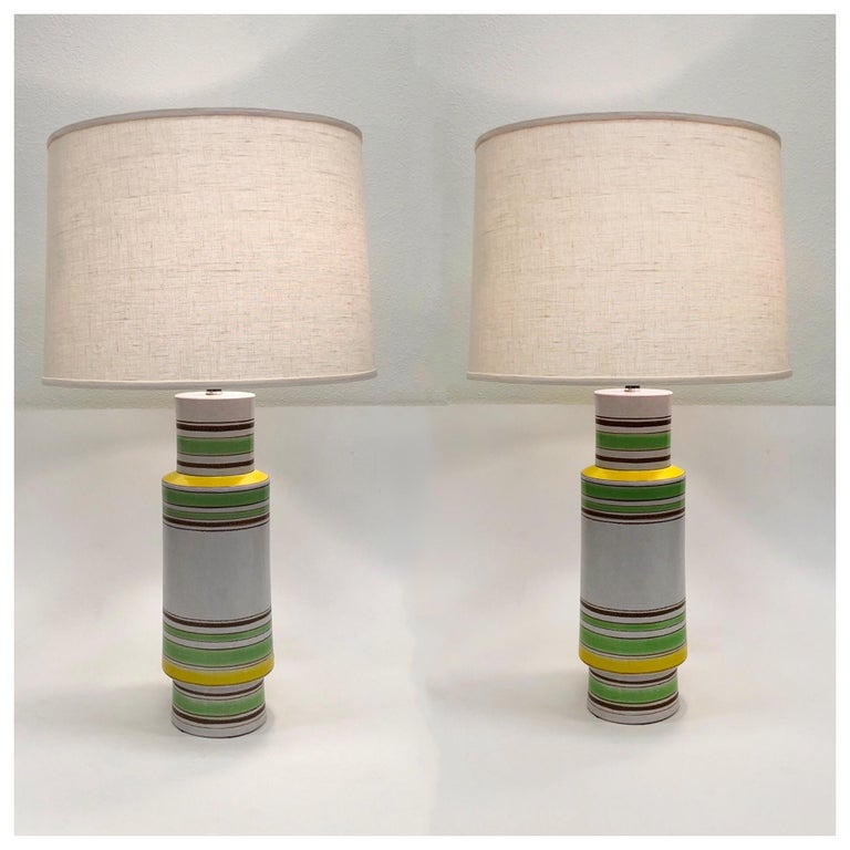 Pair of Italian Ceramic Table Lamps by Bitossi For Sale 5