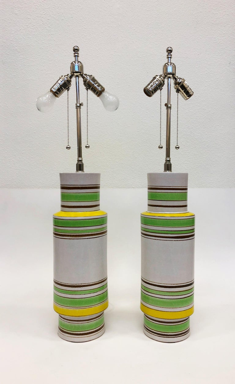 Mid-Century Modern Pair of Italian Ceramic Table Lamps by Bitossi For Sale