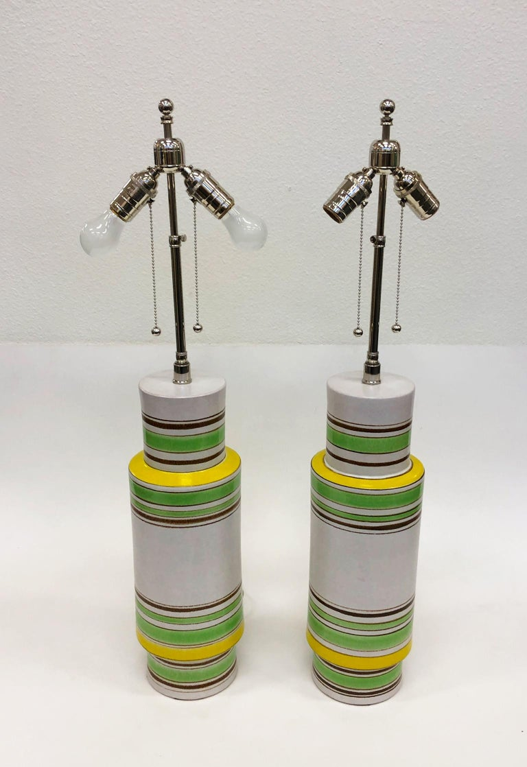 Glazed Pair of Italian Ceramic Table Lamps by Bitossi For Sale