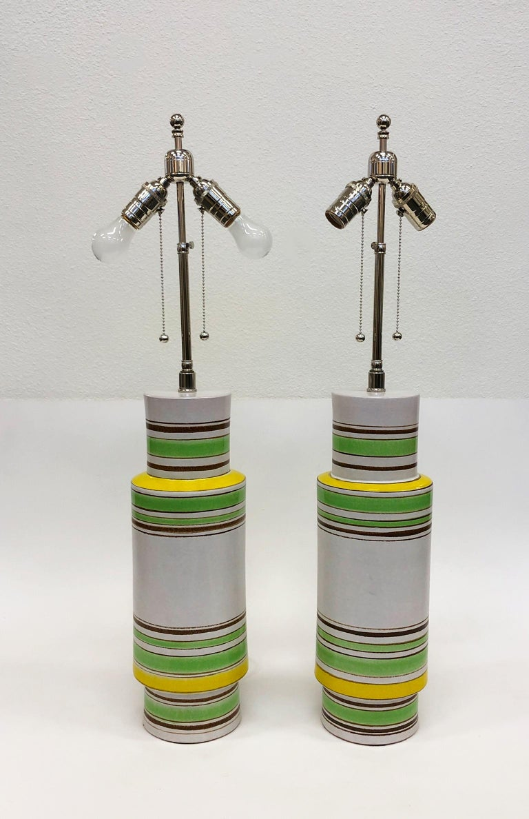 Pair of Italian Ceramic Table Lamps by Bitossi In Excellent Condition For Sale In Palm Springs, CA