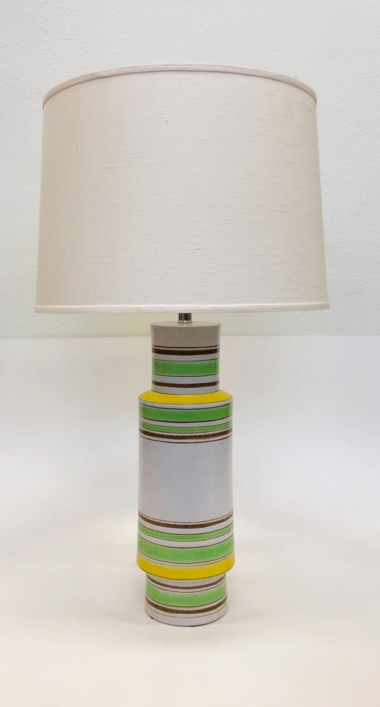 Late 20th Century Pair of Italian Ceramic Table Lamps by Bitossi For Sale