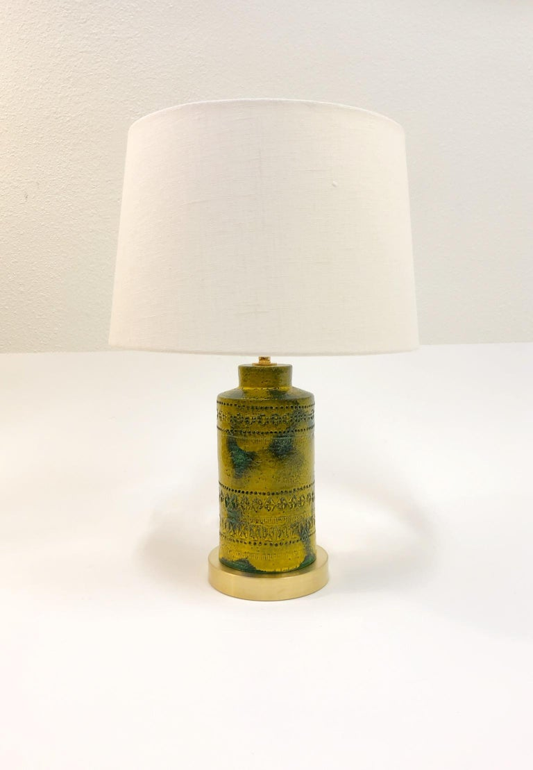 Brass Pair of Italian Ceramic Table Lamps by Bitossi  For Sale