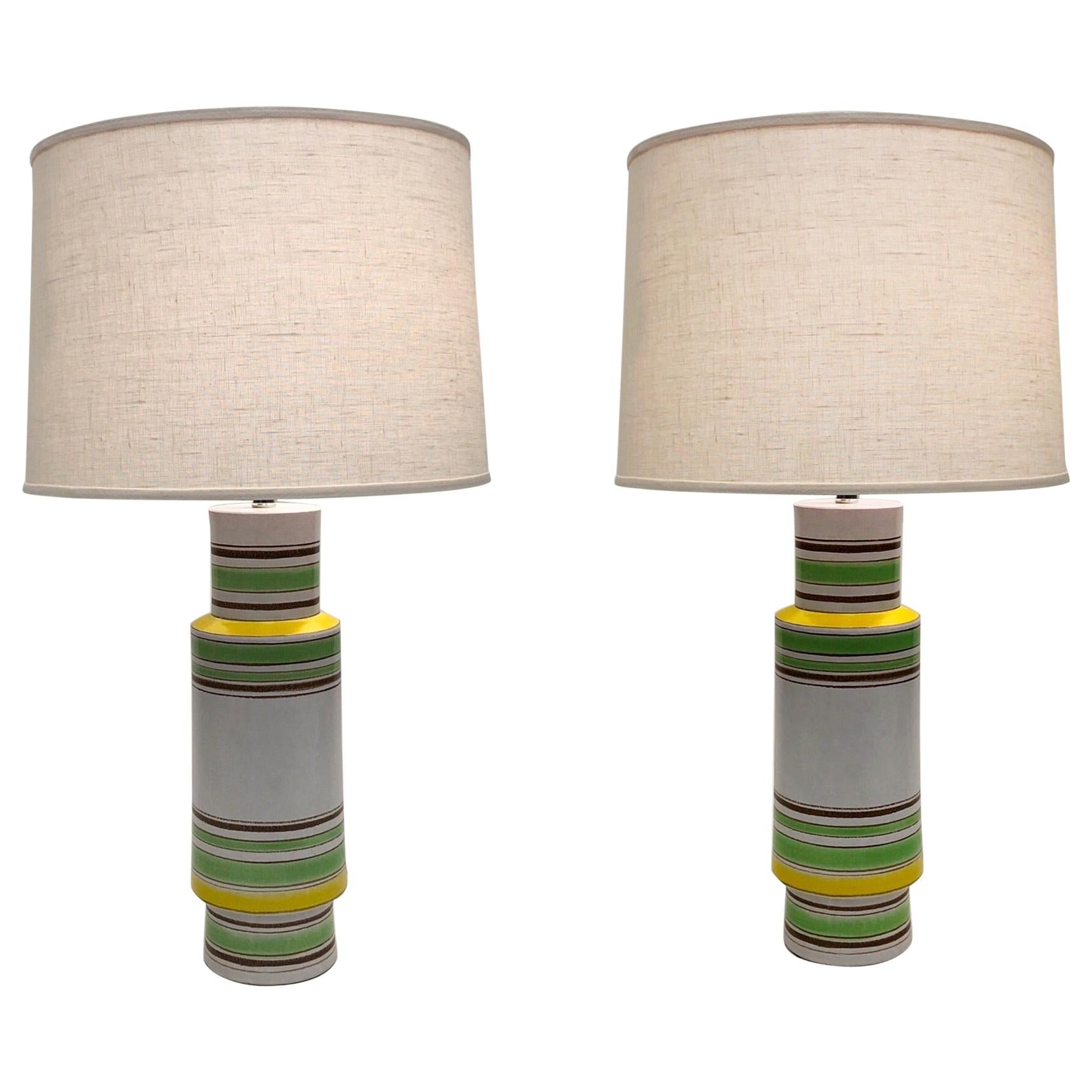 Pair of Italian Ceramic Table Lamps by Bitossi