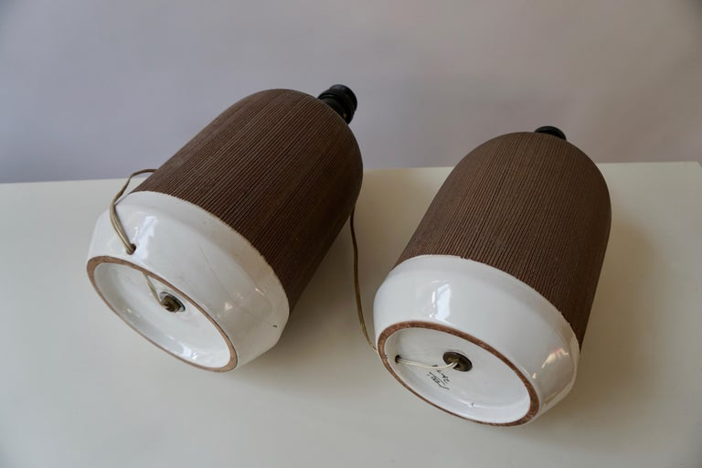 Pair of Italian Ceramic Table Lamps For Sale 6