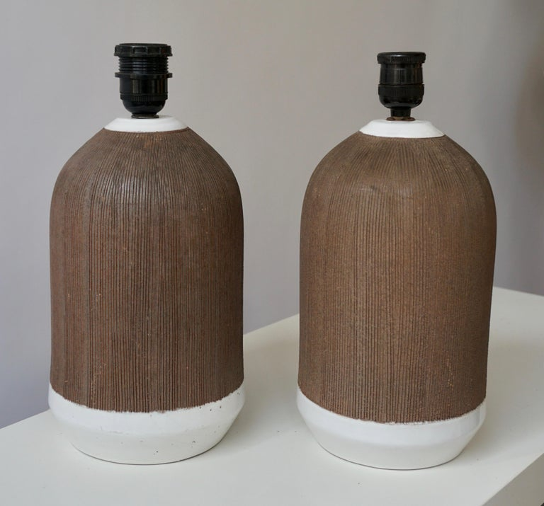 Glazed Pair of Italian Ceramic Table Lamps For Sale
