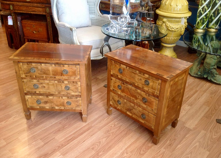 Wood Pair of Italian Chair Side Chests For Sale