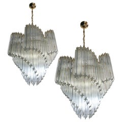 Pair of Italian Chandelier Quadriedri Gold Metal Frame, Murano
