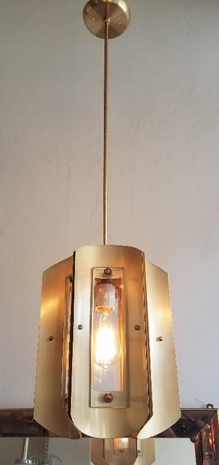 Mid-20th Century Pair of Italian Chandeliers in Style of Max Ingrand For Sale