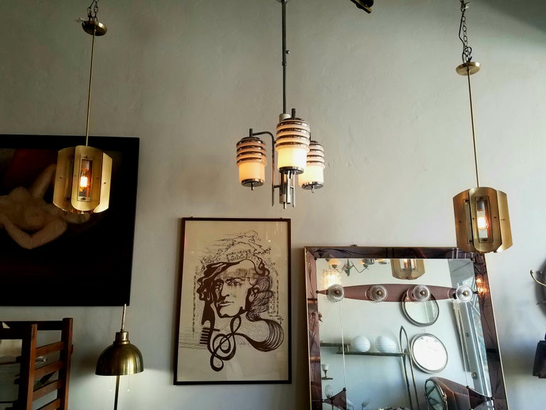 Pair of Italian Chandeliers in Style of Max Ingrand For Sale 3