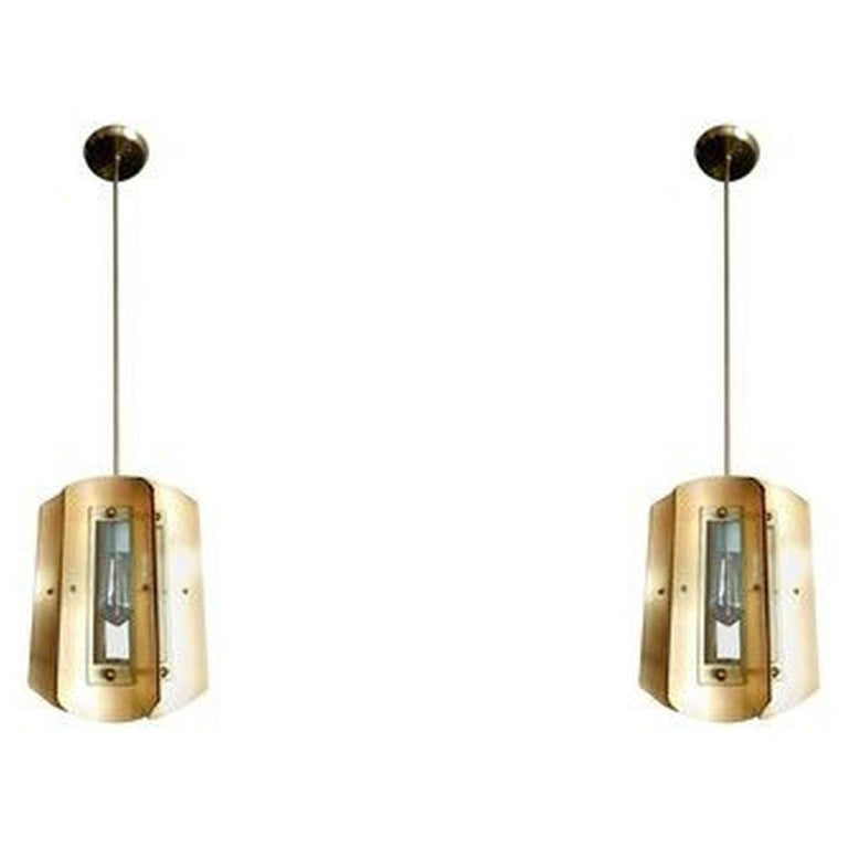 Pair of Italian Chandeliers in Style of Max Ingrand For Sale