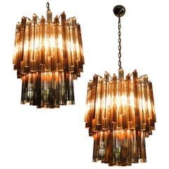 Pair of Italian Chandeliers Transparent and Smoked Triedri, Murano