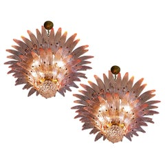 Pair of Italian Chandeliers with Pink Leaves, Murano
