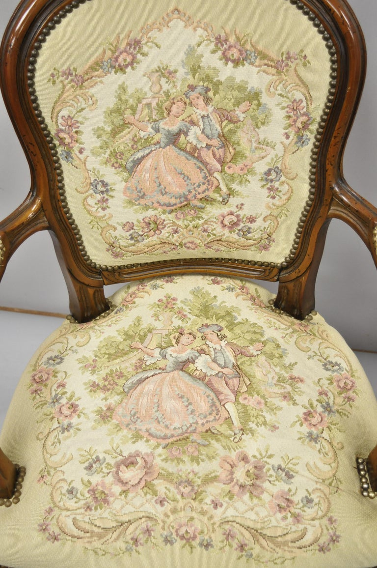 Pair of Italian Chateau d'Ax Spa French Louis XV Style Tapestry Armchairs For Sale 8