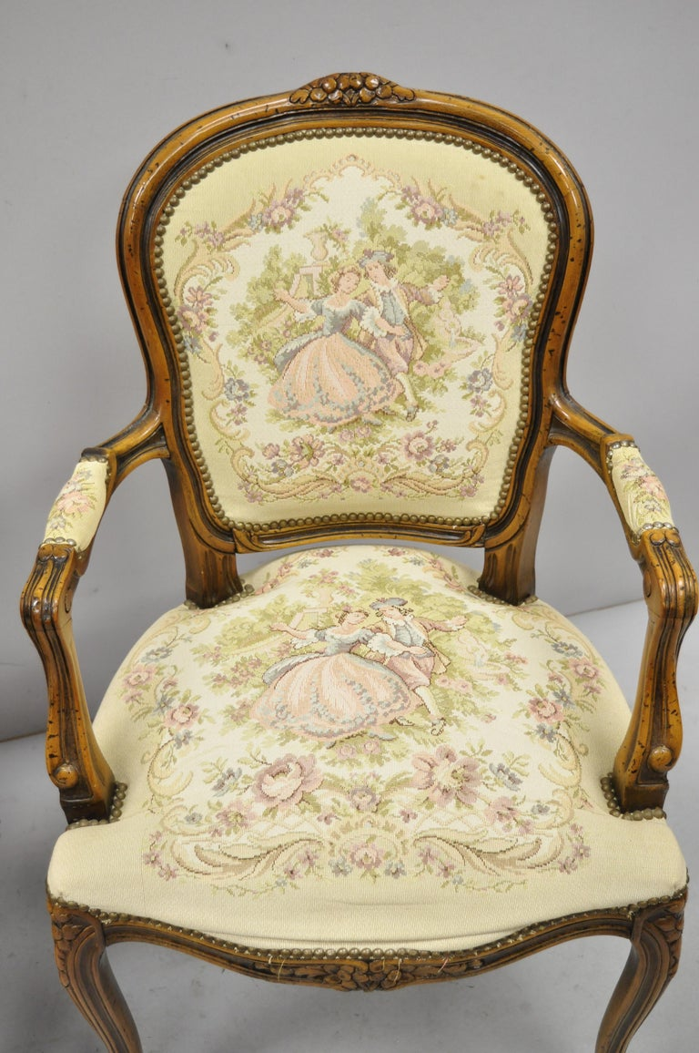 Pair of Italian Chateau d'Ax Spa French Louis XV Style Tapestry Armchairs In Good Condition For Sale In Philadelphia, PA