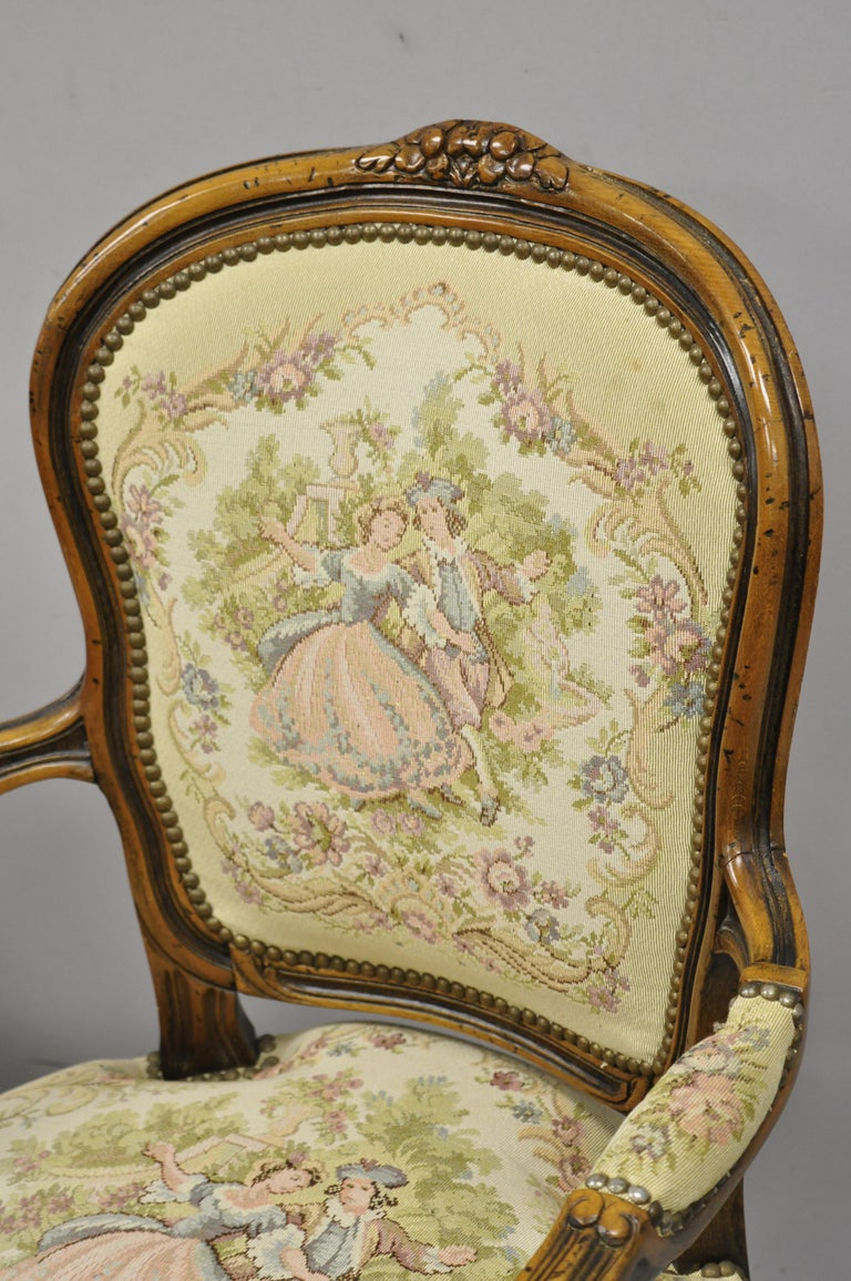 20th Century Pair of Italian Chateau d'Ax Spa French Louis XV Style Tapestry Armchairs For Sale