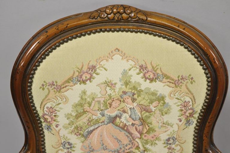 Pair of Italian Chateau d'Ax Spa French Louis XV Style Tapestry Armchairs For Sale 1