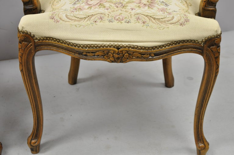 Pair of Italian Chateau d'Ax Spa French Louis XV Style Tapestry Armchairs For Sale 2
