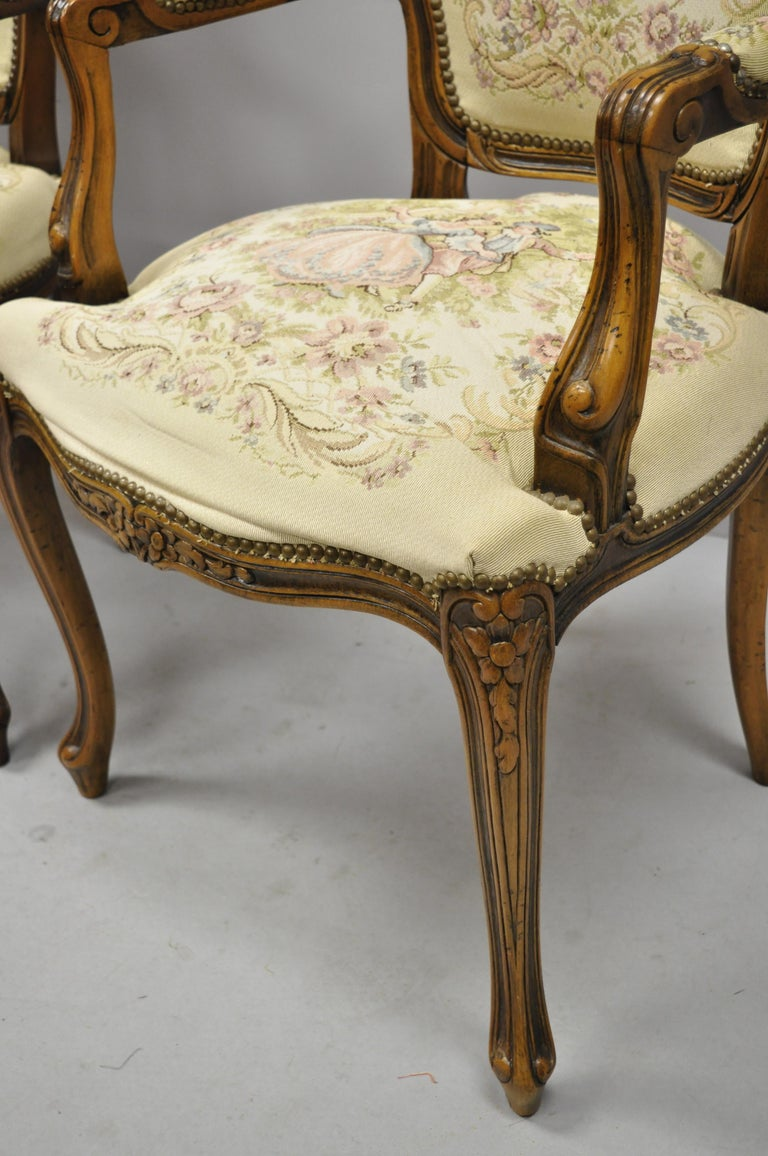 Pair of Italian Chateau d'Ax Spa French Louis XV Style Tapestry Armchairs For Sale 4