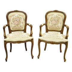 Pair of Italian Chateau d'Ax Spa French Louis XV Style Tapestry Armchairs