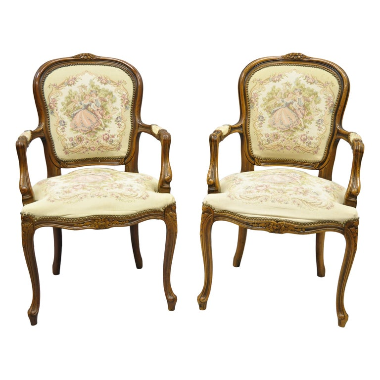 Pair of Italian Chateau d'Ax Spa French Louis XV Style Tapestry Armchairs For Sale