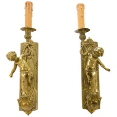 Pair of Italian Cherub Sconces Electrified Wall Lights