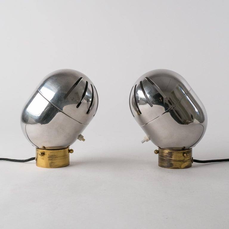 Space Age Pair of Italian Chrome Table Lamps by Reggiani, circa 1968 For Sale