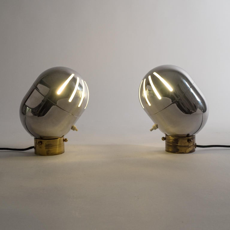 Pair of Italian Chrome Table Lamps by Reggiani, circa 1968 In Good Condition For Sale In Vienna, AT