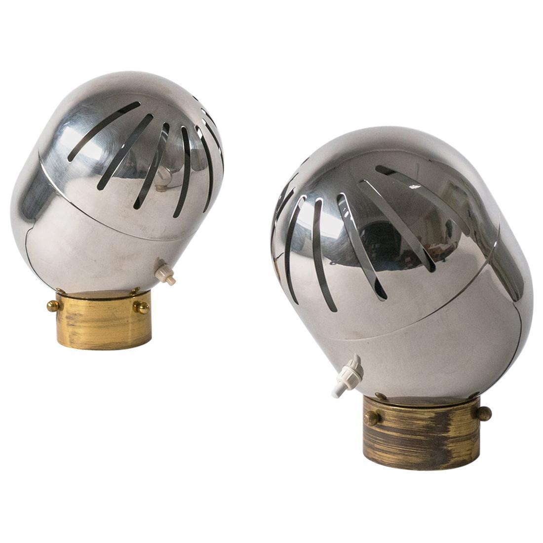 Pair of Italian Chrome Table Lamps by Reggiani, circa 1968