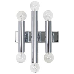 Pair of Italian Chrome Wall Sconces Sciolari Style, 1970s