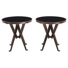 Pair of Italian Circular Wood and Glass Tables Attributed to Ico Parisi