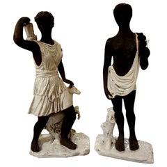 Pair of Italian Classical Greek Inspired Figural Ceramic Statues