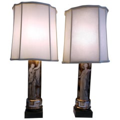 Pair of Italian Classical Modern Table Lamps Attributed to Fornasetti