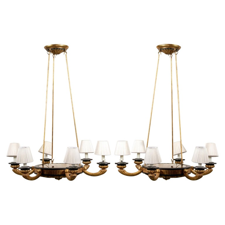 Pair of Italian Classical Style Chandeliers For Sale