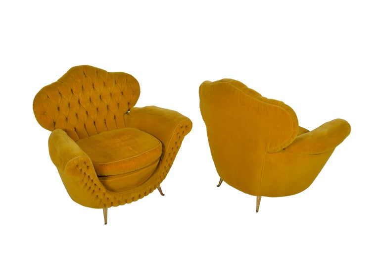 Pair of Italian Club Chairs, 1950 In Good Condition For Sale In Sint-Kruis, BE