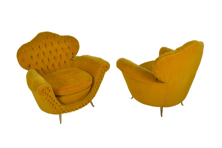20th Century Pair of Italian Club Chairs, 1950 For Sale