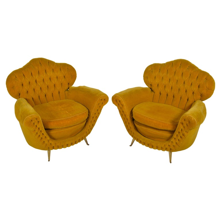 Pair of Italian Club Chairs, 1950 For Sale