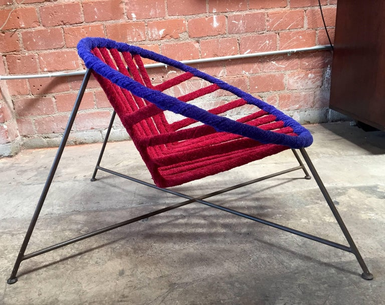 Mid-Century Modern Pair of Italian Club Chairs in Iron and Fabric by M. Tempestini, 1960s For Sale