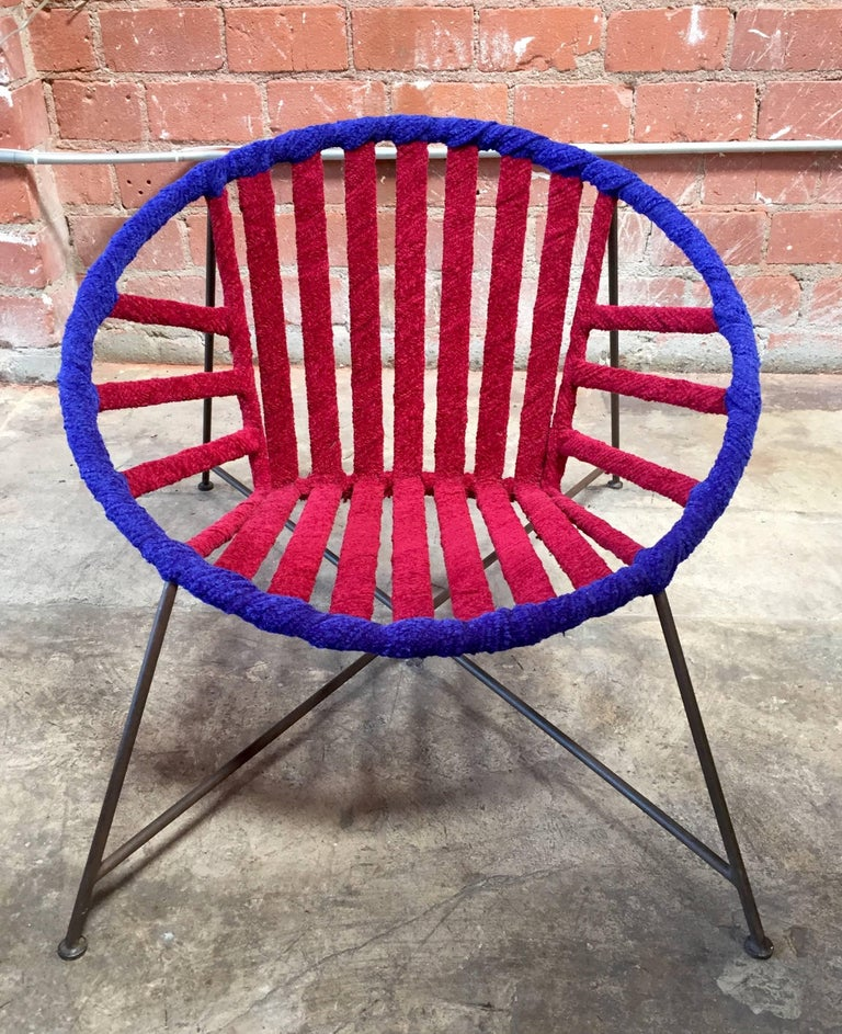 Hand-Crafted Pair of Italian Club Chairs in Iron and Fabric by M. Tempestini, 1960s For Sale