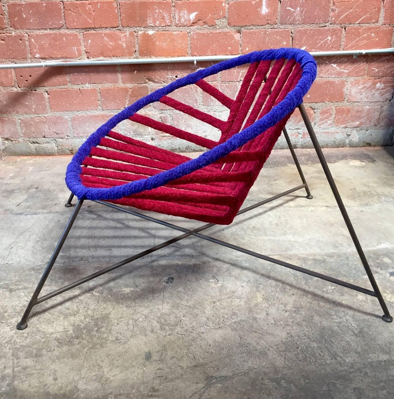 Pair of Italian Club Chairs in Iron and Fabric by M. Tempestini, 1960s In Excellent Condition For Sale In Los Angeles, CA