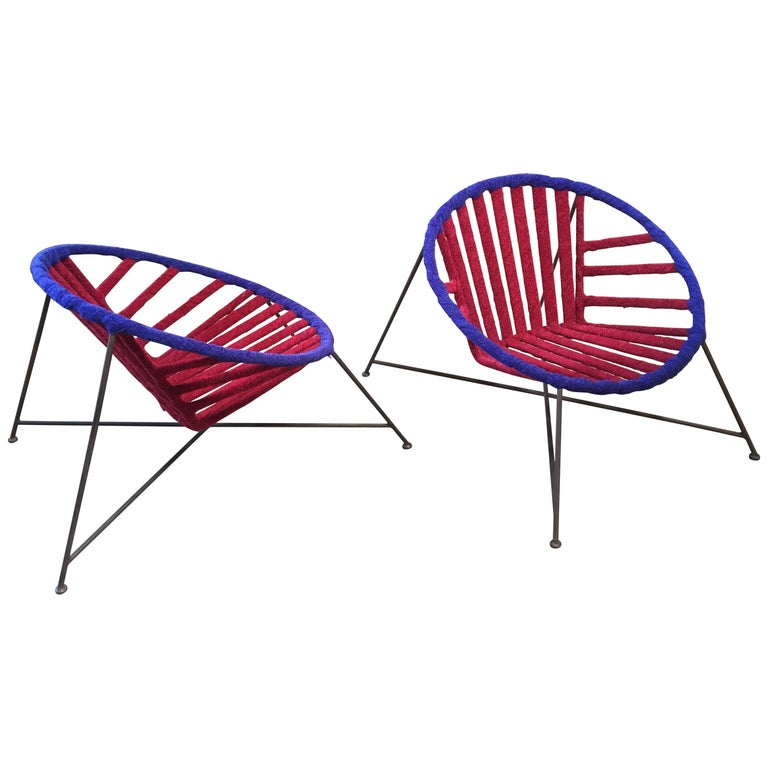 Pair of Italian Club Chairs in Iron and Fabric by M. Tempestini, 1960s For Sale