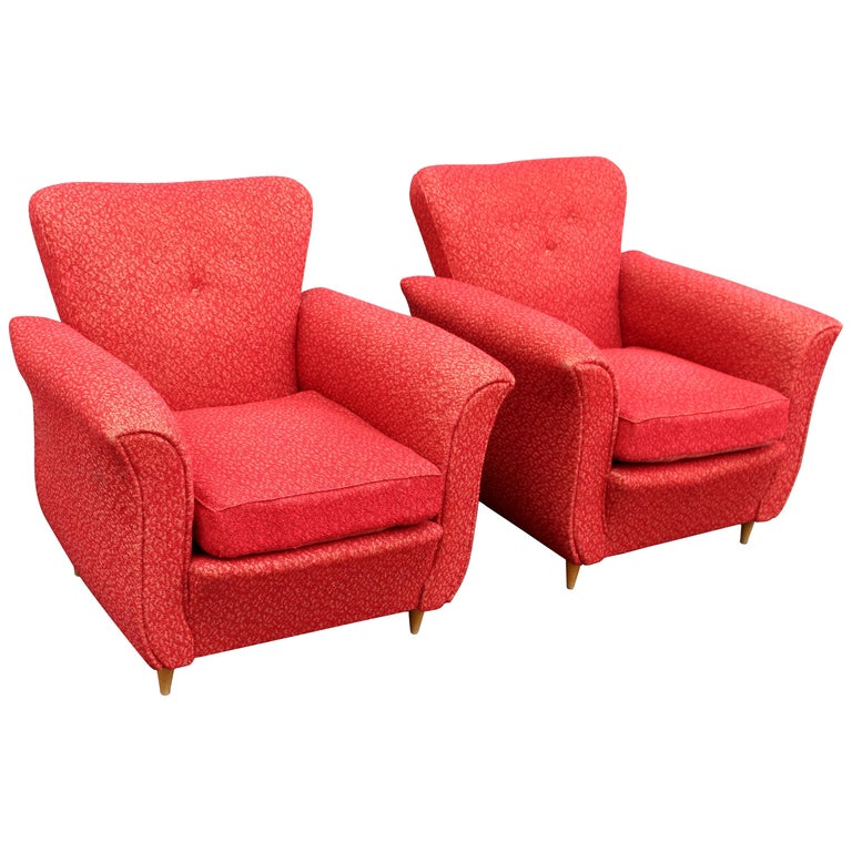 Pair of Italian Club Chairs in Style of Guglielmo Urlich For Sale