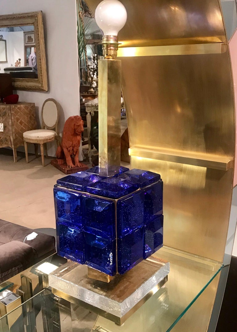 Pair of Italian Cobalt Blue Glass and Brass Table Lamps For Sale 2